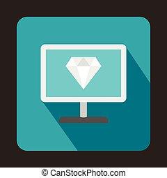 Computer monitor with a diamond icon