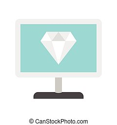 Computer monitor with a diamond icon, flat style
