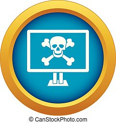Computer monitor with a skull and bones icon blue vector isolated