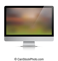 Computer monitor with abstract background on screen