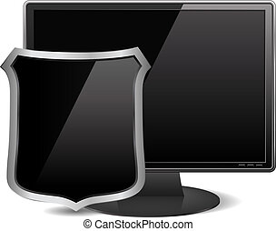 Computer monitor with black shield