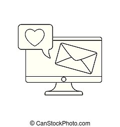 computer monitor with envelope and speech bubble