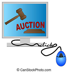 concept of online auction - computer monitor with gavel -...