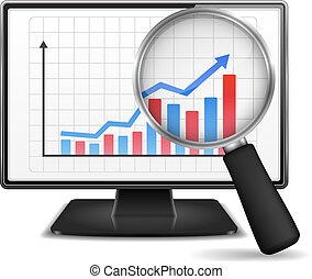 Magnifying glass showing rising bar graph with arrow on the screen of computer monitor, vector eps10 illustration