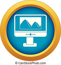 Computer monitor with photo on screen icon blue vector isolated