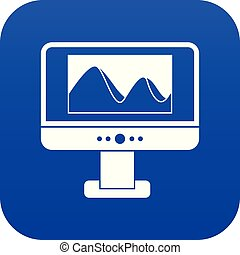 Computer monitor with photo on screen icon digital blue