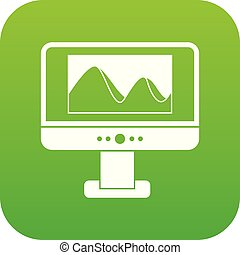 Computer monitor with photo on screen icon digital green