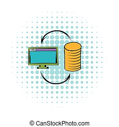 Computer monitor with pile of gold coins icon