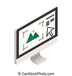 Computer monitor with printer program icon