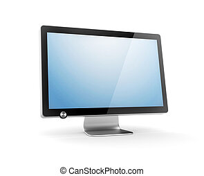 Computer Monitor with reflection. Isolated on white