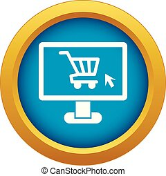 Computer monitor with shopping cart icon blue vector isolated