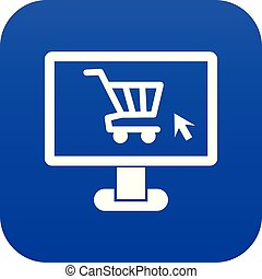 Computer monitor with shopping cart icon digital blue
