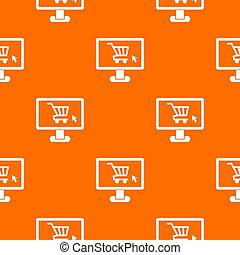 Computer monitor with shopping cart pattern seamless