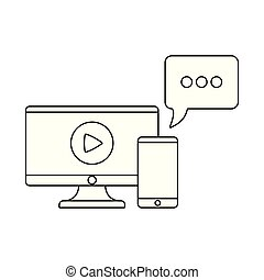computer monitor with smartphone and speech bubble