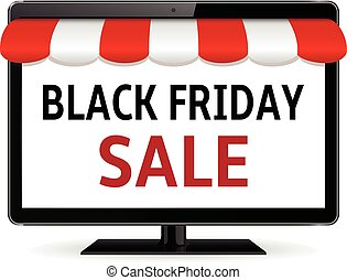 Computer monitor with striped awning and black friday sale text
