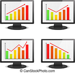 Computer monitors with graphs