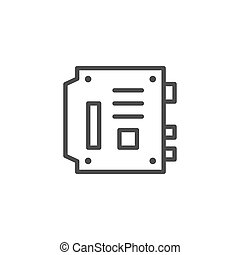 Computer motherboard line outline icon isolated on white. Mainboard, main circuit and system board, baseboard. Vector illustration