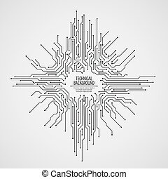 Computer motherboard vector background with circuit board electronic elements