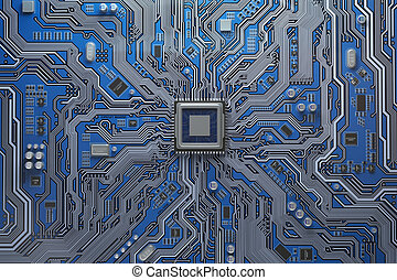 Computer motherboard with CPU. Circuit board system chip...