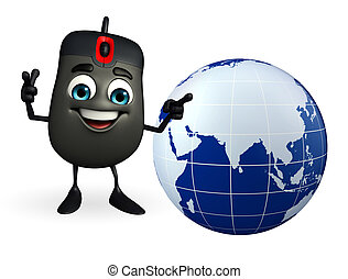 Computer Mouse Character with globe