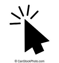 Computer mouse click cursor gray arrow icon. Vector illustration.