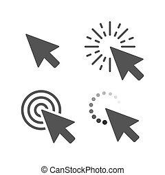 Computer mouse click cursor gray arrow icons set. Vector illustration