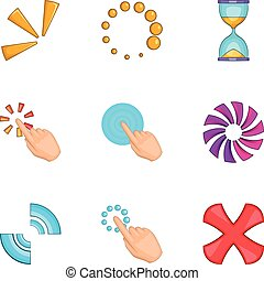Computer mouse click icons set, cartoon style