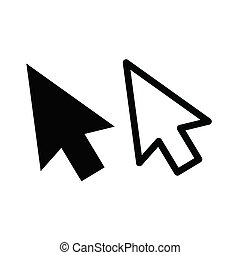 Computer mouse click pointer cursor arrow flat icon for apps and websites