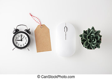 Computer mouse, clock and sale tag, online sale