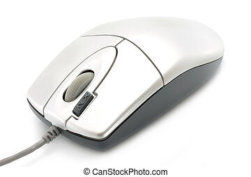 Computer mouse close-up on a white background