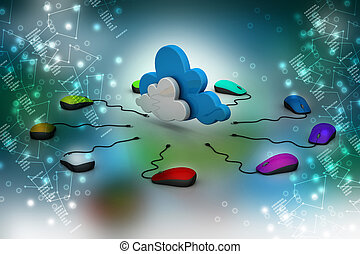 computer mouse connected to a cloud