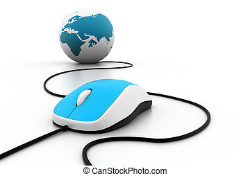 Computer mouse connected to a globe