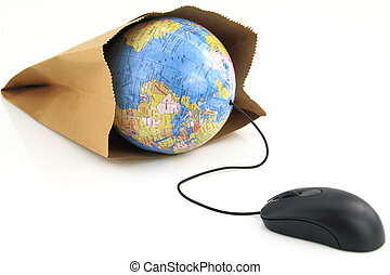 Computer mouse connected to a grocery bag with a world globe inside