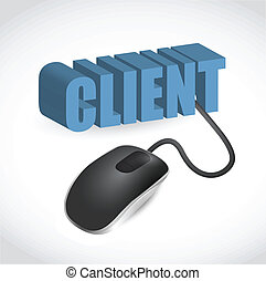 computer mouse connected to the blue word Client