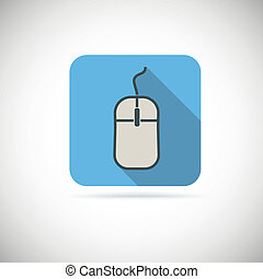 Computer mouse, flat icon with long shadow