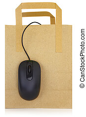 Computer mouse hanging on a shopping bag