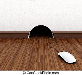 Computer mouse hidden in burrow. Fun concept.
