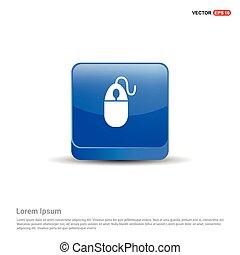 Computer Mouse Icon - 3d Blue Button