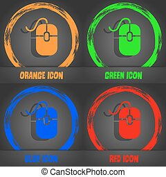 Computer mouse icon. Fashionable modern style. In the orange, green, blue, red design. Vector