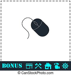 Computer mouse icon flat