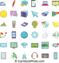 Computer mouse icons set, cartoon style