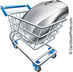 A computer mouse in a shopping trolley or cart. Concept for internet shopping online or buying technology