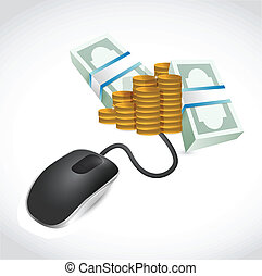 computer mouse is connected to a big pile of money