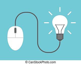 Computer mouse, light bulb
