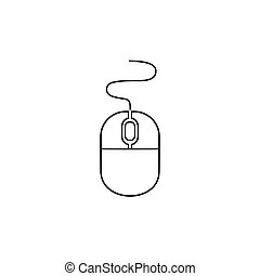 Computer mouse line icon in trendy flat style isolated on white background, for your web site design, app, logo, UI. Vector illustration