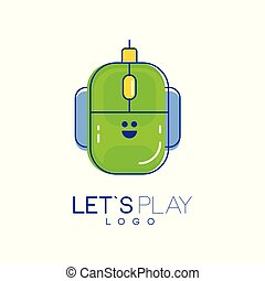 Computer mouse logo. Digital technology concept. Let s play. Linear icon with green and blue fill. Vector design for mobile app, developer company or device store
