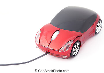Computer mouse looking like small red sport car.