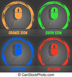 Computer mouse sign icon. Optical with wheel symbol. Fashionable modern style. In the orange, green, blue, red design. Vector