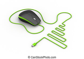 Computer mouse with cable