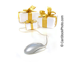 Computer mouse with gold ribboned gifts for online shopping
